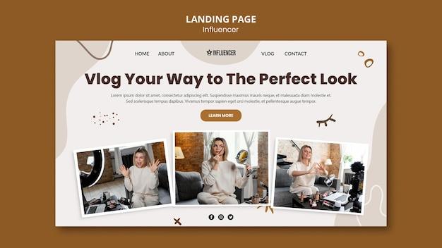 Landingspagina voor schoonheidsvlogger met jonge vrouw