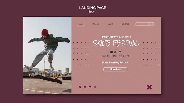 Landingspagina voor skatefestivals