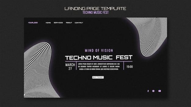 Landingspagina voor technomuziekfest