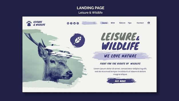 Landingspagina voor vrije tijd en dieren in het wild