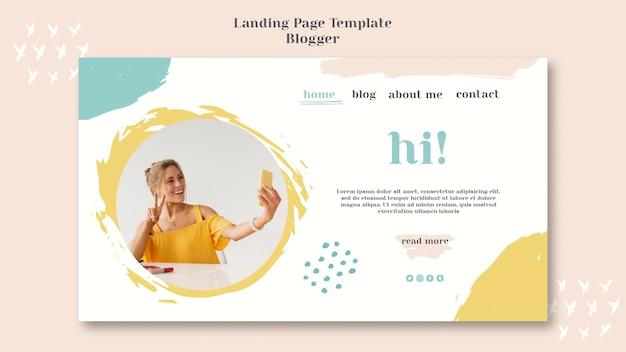 Landingspaginastijl van blogger-concept