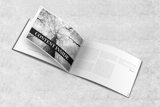 Landscape magazine of brochure mockup