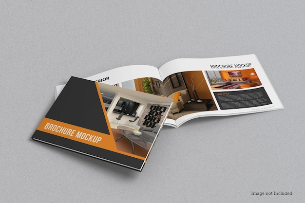 Landschap brochure en catalogus mockup ontwerp geïsoleerd