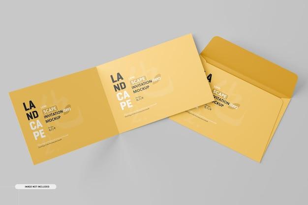 Landschap gevouwen uitnodigingskaart mockup