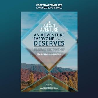 Landschap voor reizen concept poster sjabloon