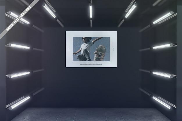 Landschapsposter in het gloeiende model van de tentoonstellingsruimte