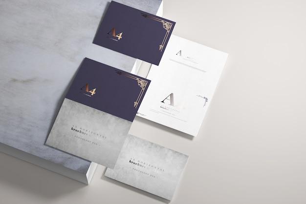 Lange zijde gevouwen a4 bi-fold horizontale mockup