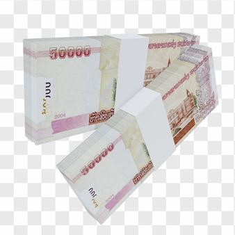 Laos valuta kip 50.000: stapel lak laos bankbiljet