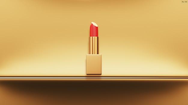 Lápiz labial de lujo en color dorado. render 3d