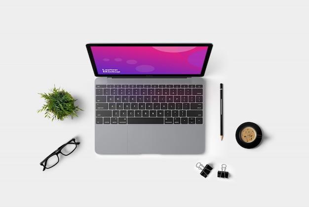 Laptop bovenaanzicht mockup