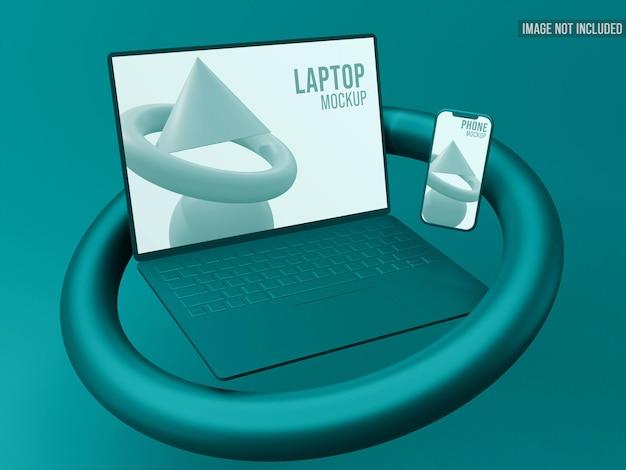 Laptop en smartphone drijvend 3d-model