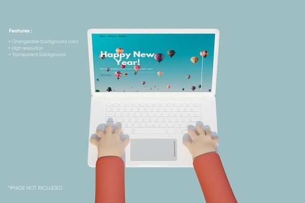 Laptop klei mockup met 3d-hand