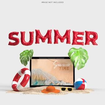 Laptop met decoratieve strandvoorwerpen. mockup voor zomerverkoopconcept