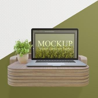 Laptop mockup op mini-bureau met bewerkbare muur