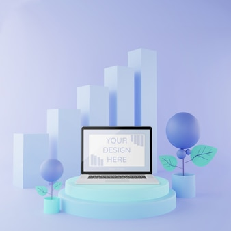 Laptop mockup op podium 3d illustratie pastel kleuren, mockup infographic