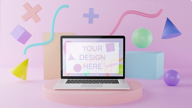 Laptop mockup op podium met abstracte elementen 3d illustratie pastel kleuren