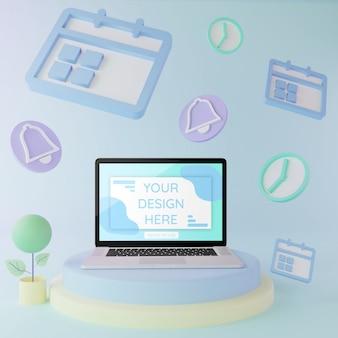 Laptop mockup op podium met schema elementen 3d illustratie pastel kleuren