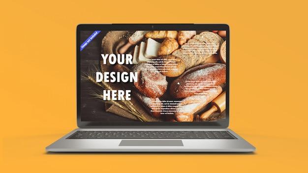 Laptop model op geeloranje achtergrond. bedrijfs- en online technologieobject concept