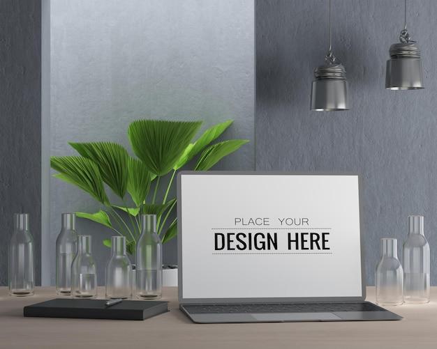 Laptop op bureau in werkruimte psd-mockup