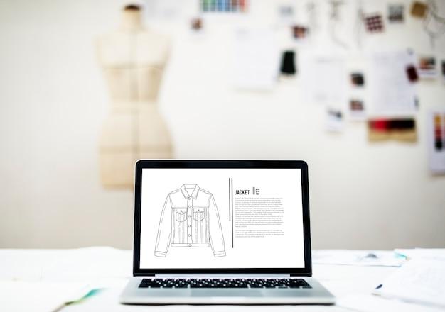 Una laptop con un plan de diseño de la chaqueta