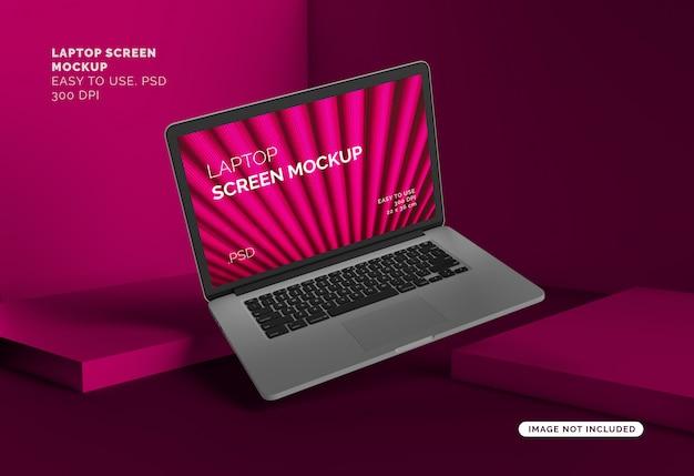 Laptop scherm mock-up met abstracte achtergrond