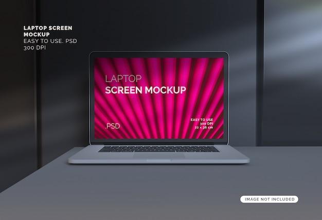 Laptop scherm mockup met over schaduw