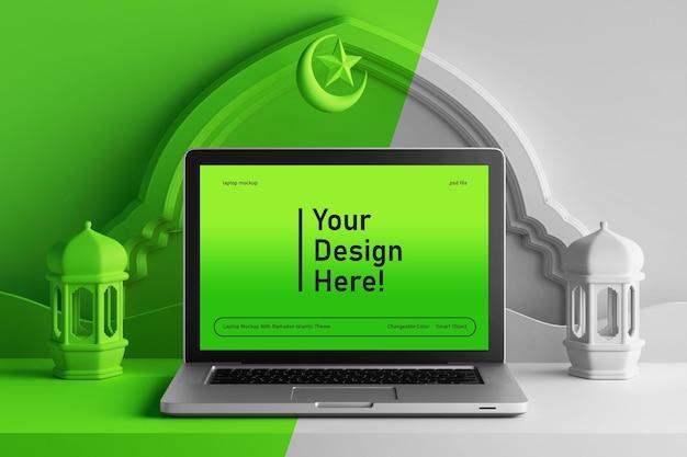 Laptop scherm mockup op bewerkbare kleur 3d render scène ramadan eid mubarak islamitische thema