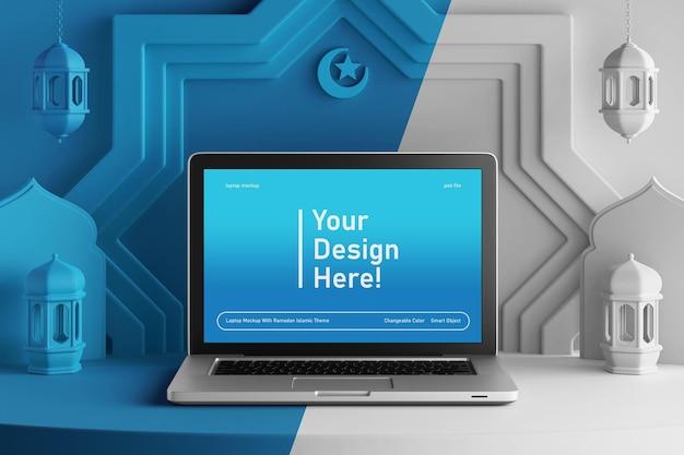 Laptop scherm mockup op veranderlijke kleur creatieve 3d render ramadan eid mubarak islamitische thema