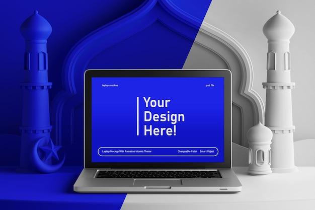 Laptop scherm mockup op veranderlijke kleur creatieve 3d render ramadan eid mubarak thema