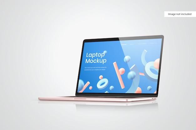 Laptop scherm mockup zijaanzicht