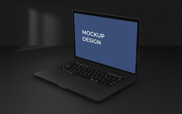 Laptop scherm psd mockup op donkere achtergrond