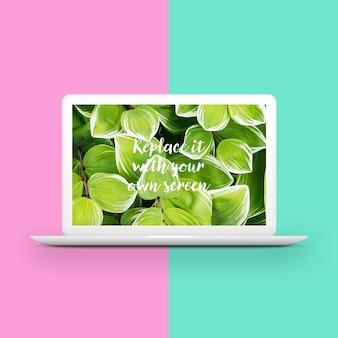 Laptop twee gestemde achtergrond mock-up