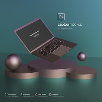 Laptop zwevend in een abstracte omgeving mockup