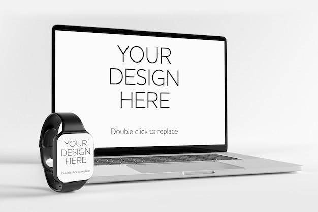 Laptopcomputer en smartwatch mockup, perspectief weergave