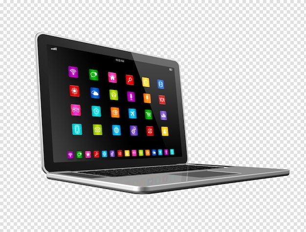 Laptopcomputer met apps pictogrammen
