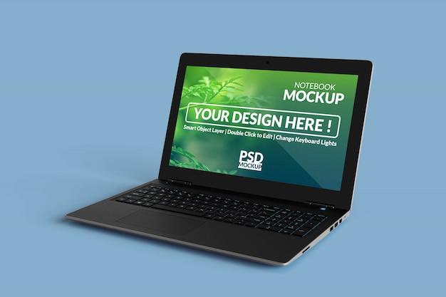 Laptopcomputer met een mock-up scherm met in een rechte hoek isometrische weergave