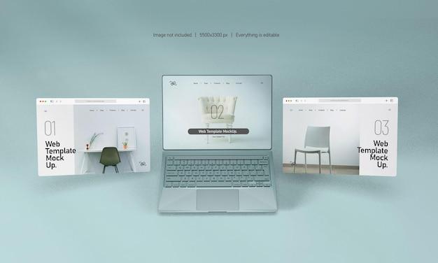 Laptopscherm met geïsoleerd websitepresentatiemodel