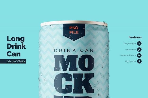 Lata de bebidas metálicas de aluminio de alta calidad plantilla de maquetas premium en primer plano vista frontal
