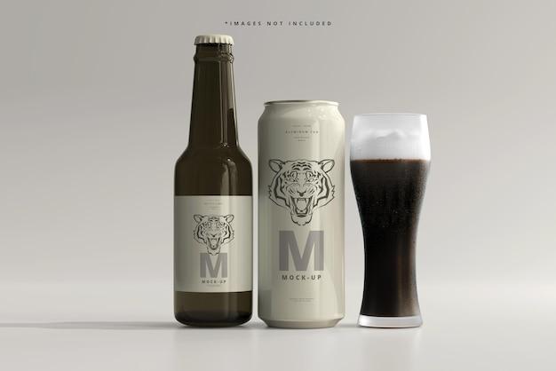 Lata de cerveza o refresco elegante de 500 ml con maqueta de botella