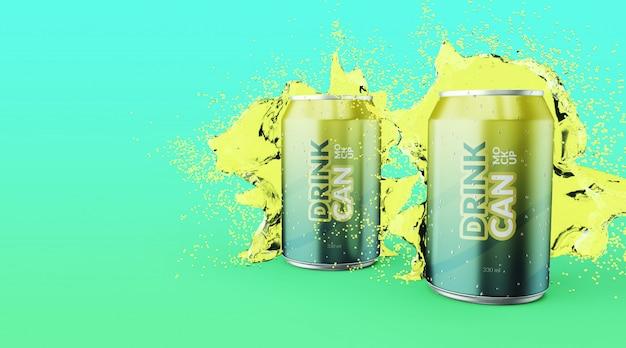 Lata de refresco personalizable de primera calidad con maquetas de salpicaduras de agua