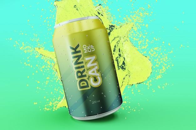 Lattina di soda personalizzabile di qualità premium con modelli di schizzi d'acqua