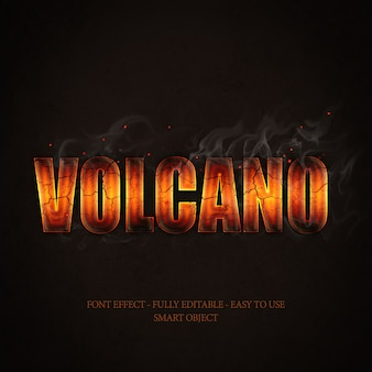 Lava magma volcán fuego humo efecto 3d