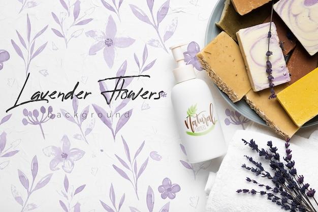 Lavendel zeep bars achtergrond met mock-up