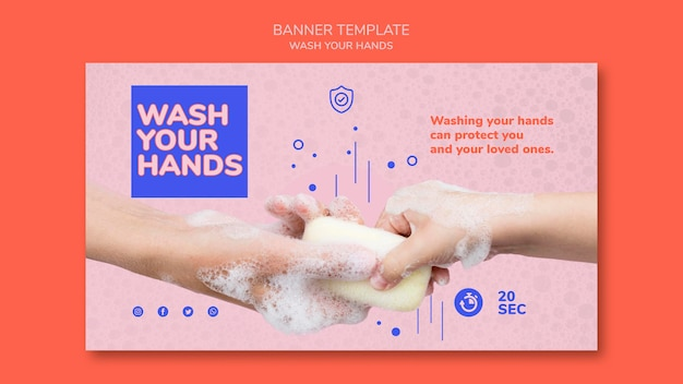 Lávese las manos plantilla de banner