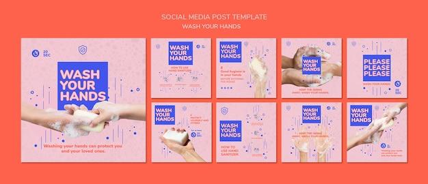 Lávese las manos publicación en redes sociales