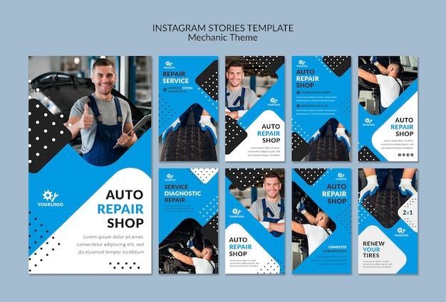 Lavoratore meccanico nelle storie di instagram showroom