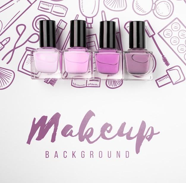 Lay flat de hermosa maqueta de esmalte de uñas