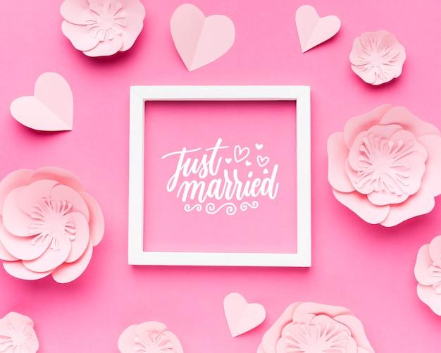 Lay flat de maqueta de concepto de boda