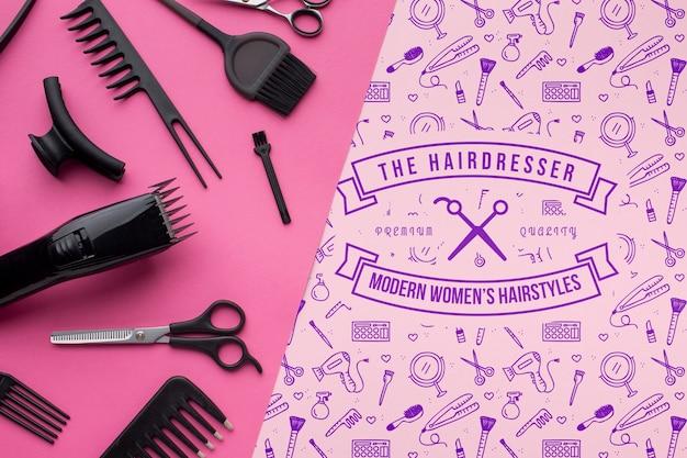 Lay flat de maqueta de concepto de peluquería