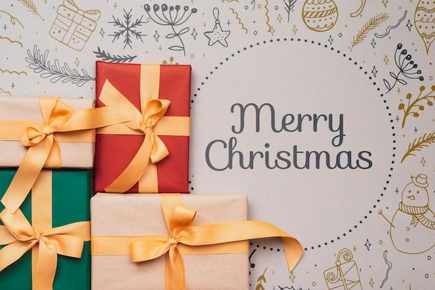 Lay flat de maqueta de regalos de navidad coloridos